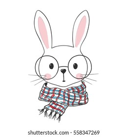 Cute bunny. Hand drawn rabbit illustration