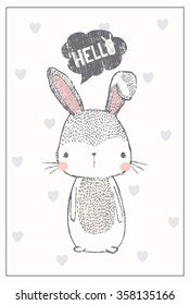 cute bunny illustration for apparel or other uses,in vector.