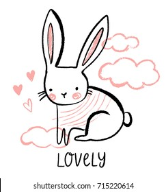 Cute bunny illustration with hearts and clouds. Hand drawn vector rabbit character for baby girl.