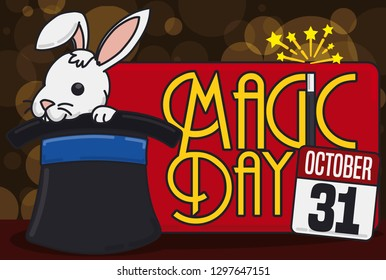 Cute bunny inside a top hat and label with loose-leaf calendar and magician wand to celebrate Magic Day in October 31.