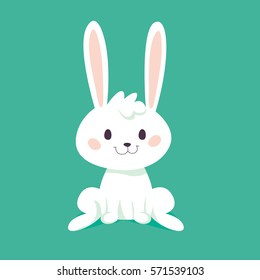 Cute bunny isolated. Happy Easter design. Vector illustration.