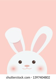 Cute bunny on pink background.