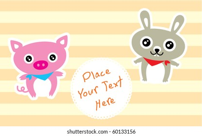 cute bunny and pig