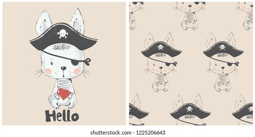 Cute Bunny pirate and seamless pattern. Hand drawn vector illustration.