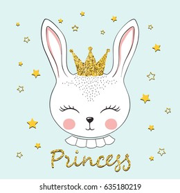 Cute bunny princess. Rabbit girl with crown. Vector illustration for kids
