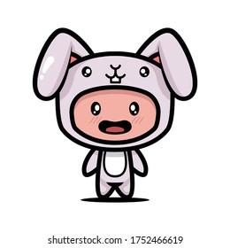 Cute bunny rabbit costume animal design illustration template vector