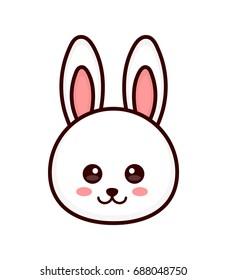 4fcabf1e654 Cute bunny. rabbit face. Vector modern line outline flat style cartoon  character illustration.