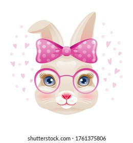 Cute Bunny. Rabbit girl face in pink glasses and bow. Vector cartoon animal. Illustration for t-shirt print, easter greeting card, baby shower design. Watercolor graphic. Funny fashion kawaii drawing.
