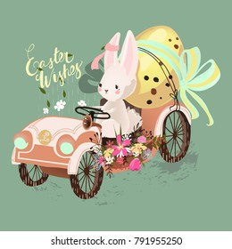 Cute bunny, rabbit, hare driving the vintage car with decorated Easter egg. Easter Wishes lettering