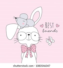 cute bunny rabbit and mouse best friends vector illustration