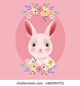 Cute bunny rabbit portrait with floral frame