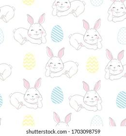 Cute Bunny Rabbit Seamless Pattern Vector Background