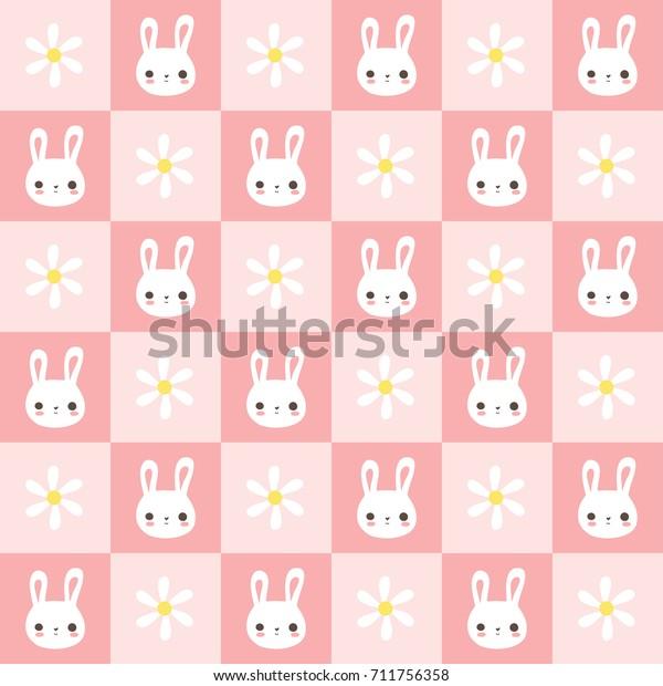Cute Bunny Rabbit Seamless Pattern Pink Stock Vector Royalty Free