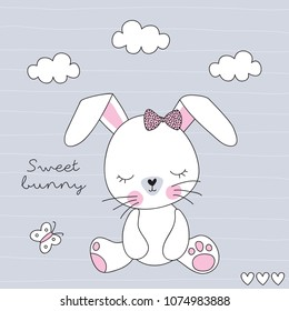 cute bunny rabbit vector illustration
