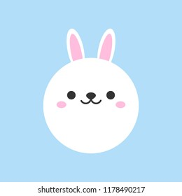 Cute bunny round vector graphic icon. White rabbit animal head, face illustration. Isolated on blue background.