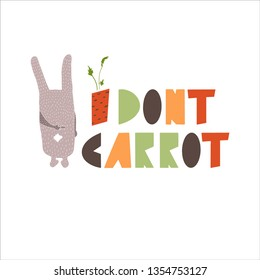 Cute bunny shows middle finger gesture. I dont care card design. Bad rabbit with fuck off finger. Isolated on white background - Vector