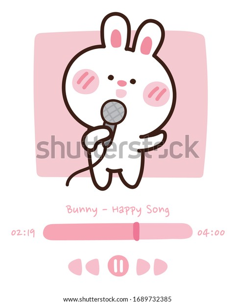 Cute Bunny Sing Song On Audio Stock Vector Royalty Free 1689732385