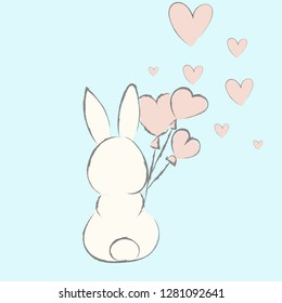 Cute bunny sits back and holds heart balloons. Vector illustration.