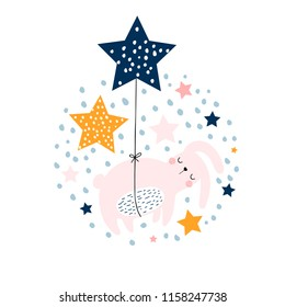 Cute bunny sleeping in balloons stars. Design concept for nursery, posters, apparel, cards. Childish vector illustration