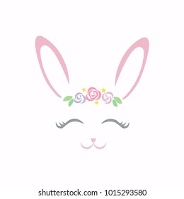 Cute bunny smiling face vector.