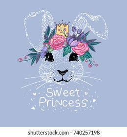 Cute bunny sweet princess with embroidery flowers crown vector illustration. Baby girl shower card. Beautiful kids fashion graphic. Cartoon bunny face. Vintage watercolor style doodle.