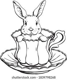 Cute bunny teacup drawing vector
