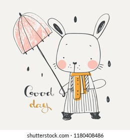 Cute Bunny with umbrella.cartoon hand drawn vector illustration. Can be used for baby t-shirt print, fashion print design, kids wear, baby shower celebration greeting and invitation card
