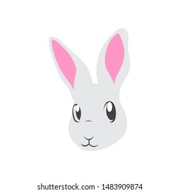 Cute bunny vector graphic icon. rabbit animal head, face illustration. Isolated on white background