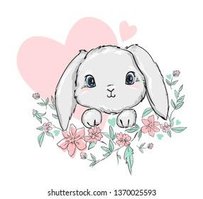 Cute Bunny vector illustration. print design rabbit, children print on t-shirt.