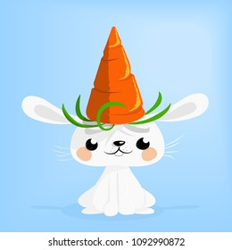 Cute bunny wearing a carrot hat vector