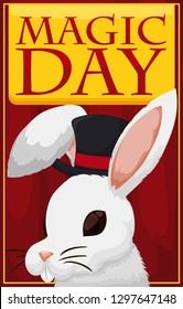Cute bunny wearing a magician top hat presenting a fantastic trick over a curtain to celebrate Magic Day.