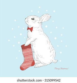 Cute bunny with xmas sock, hand drawn graphic, Merry Christmas illustration