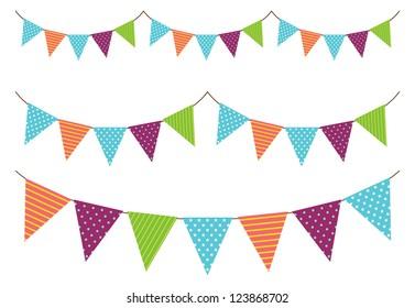 cute bunting flag vector illustration