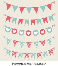 Cute bunting set baby pastel red and green for scrapbook with hearts and polka dots. Vector illustration