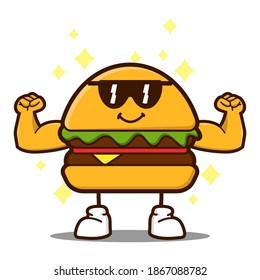 cute burger cartoon mascot character funny expression showing muscle