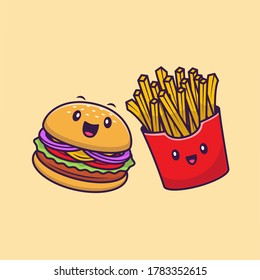 Cute Burger And French Fries Cartoon Vector Icon Illustration. Fast Food Character Icon Concept Isolated Premium Vector. Flat Cartoon Style