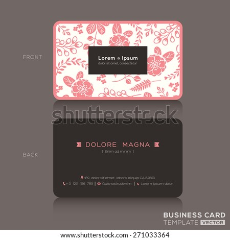 Cute business card design template pink stock vector royalty free cute business card design template with pink floral pattern background accmission Choice Image