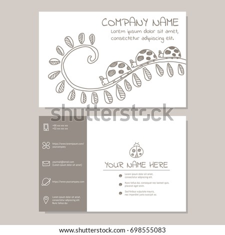 Cute Business Card Vector Illustration Template Stock Vector