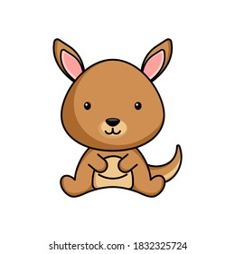 Cute business kangaroo icon on white background. Mascot cartoon animal character design of album, scrapbook, greeting card, invitation, flyer, sticker, card. Flat vector stock illustration.