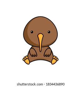 Cute business kiwi icon on white background. Mascot cartoon animal character design of album, scrapbook, greeting card, invitation, flyer, sticker, card. Flat vector stock illustration.