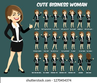 Cute business woman with dark brown hair and green eyes cartoon   flat style stances/body position set, vector illustration