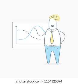 Cute Businessman analyzing a business analytics or intelligence, productivity dashboard, made presentation, showing sales and operations data statistics charts and key performance indicators (KPI)