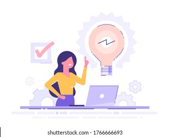 Cute businesswoman working on her laptop holding up his index finger and creating a new idea.  Shiny light bulb. Business idea concept. Modern vector illustration.
