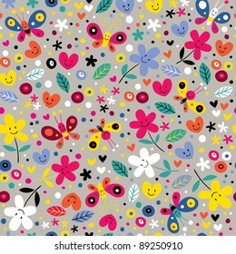 cute butterflies, hearts and flowers seamless pattern