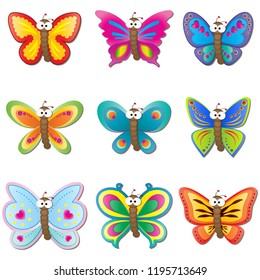 Cute Butterfly with big googly eyes cartoon Icon set vector illustration