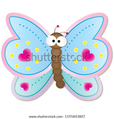 cute butterfly big googly eyes cartoon stock vector royalty free