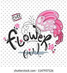 "Cute butterfly with big wings and text ""flower girl"" on polka dot background illustration vector."