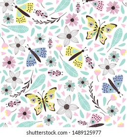 Cute  butterfly pattern with flowers. Vector illustrations