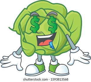 Cute cabbage with Money eye cartoon character design