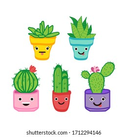 Cute cacti in colorful pots. Fun cartoon characters cacti. Cactus set.